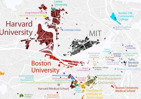 bản đồ phân bố các trường đại học ở Boston