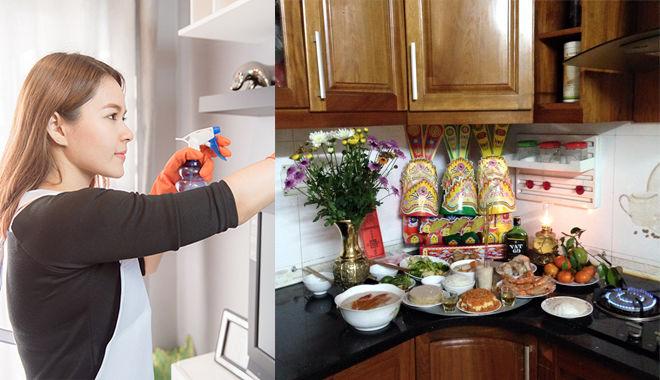 Làm sạch tủ bếp khi chuyển nhà