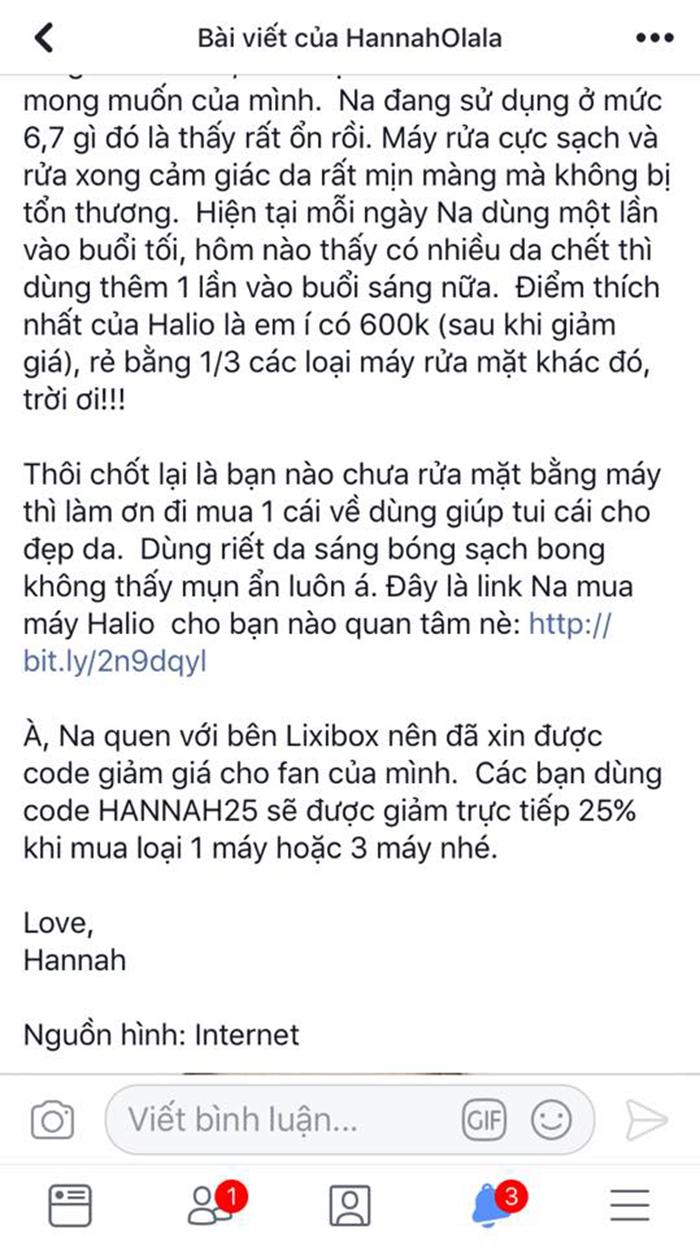 Hannah Olala bị bốc phốt PR Halio của Lixibox