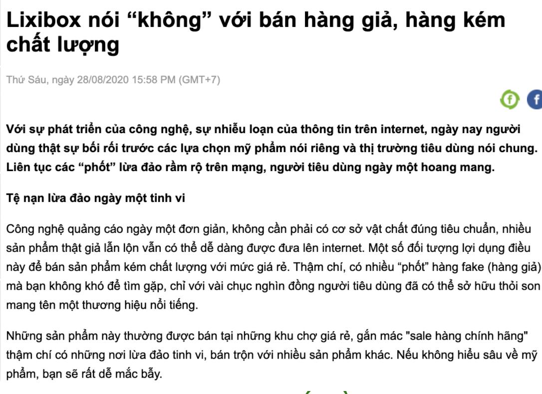 Báo 24h.com.vn viết về Lixibox